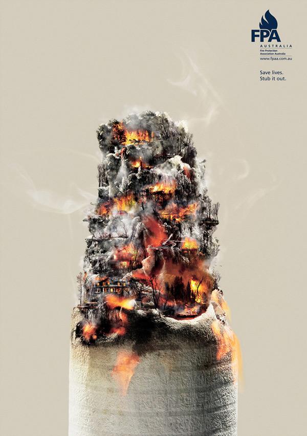 Poster tuyên truyền chống nạn cháy rừng đang phổ biến. Hãy đảm bảo tắt thuốc lá trước khi bạn vứt nó đi.