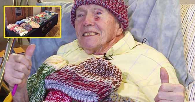 Anh hùng toả sáng tuổi 91, vừa chống ung thư vừa đan 8000 chiếc mũ mang hơi ấm cho người vô gia cư